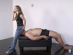 Devotion to My Ass: Mistress T is briefly chatting on the phone with her girlfriend while sitting on her slave's face..
